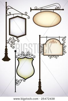 Illustration about Vintage wrought iron signs. Three templates for your design. Illustration of ornament, iron, cast - 18139010 Decoration Restaurant, Iron Furniture, Iron Art, Vintage Room, Iron Gates, Iron Decor, Welding Projects, Shop Signs, Vintage Signs