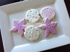 1 dozen pink and white seashell ocean cookies