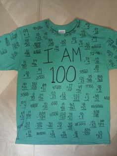 100th day of School Shirt - 100 math problems all equaling 100.