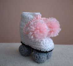 Crochet roller skate bootie.