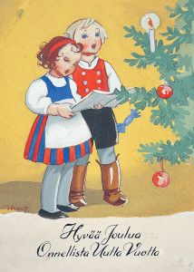 Childrens Christmas, Christmas Past, Vintage Christmas Cards, Scandinavian Christmas, Retro Christmas, Vintage Holiday, Christmas Greetings, Vintage Cards, Holiday Cards