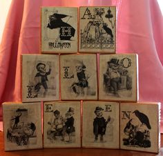 Skeleton Halloween Blocks made with mod podge & 2 x 6's. saw it on pinterest and had to make one of my own (http://coleenscorner.blogspot.com/2010/09/halloween-blocks.html) I got the pics from a great etsy shop. https://www.etsy.com/shop/AntiqueGraphique