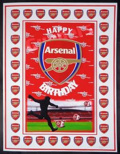 Printed on matte photo paper and attached to white card. Built up image with foam pads and added sentiment. A super bright and colourful Birthday card for all Arsenal fans that is very quick to make.