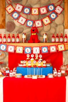 Clifford the Big Red Dog Birthday Party Ideas Second Birthday Ideas, Third Birthday, 4th Birthday Parties, Dog Birthday, Birthday Table, Animal Party, First Birthdays, Red Dog, Party Ideas