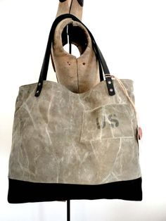 US MILITARY TOTE Bag Black Leather & Canvas Large by TnBCdesigns