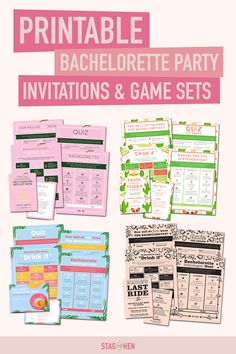 Get bachelorette party guests ALL the party details they need with our 100% customizable bachelorette party invitations! Each template can be edited with your party details, downloaded and printed at home. Plus, each one has a matching set of bachelorette party games the bride squad will love. Stag And Hen, Bachelorette Party Invitations, Matching Set, Party Guests, Best Part Of Me, Squad, Party Themes, Templates, Bride