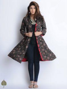 Buy Black Red Grey Natural Dyed Bagru Printed Button Down Cotton Dress/Jacket by… Indian Attire, Indian Wear, Kurta Designs, Blouse Designs, Ethnic Fashion, Indian Fashion, Indian Dresses, Indian Outfits, Mehndi