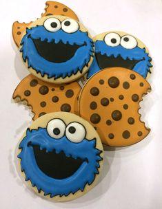 Cookie Monster cookies, chocolate chip cookies - Kekse & Co. No Bake Sugar Cookies, Elmo Cookies, Cookies For Kids, Iced Cookies, Cute Cookies, Royal Icing Cookies, Birthday Cookies, Cupcake Cookies, Cookie Monster Party