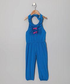 Sea Blue Ruffle Jumpsuit - Toddler & Girls
