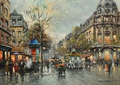 """Place de la Republique"" Oil painting by Antoine Blanchard from Nanette Richardson Fine Art http://www.nanetterichardsonfineart.com/"
