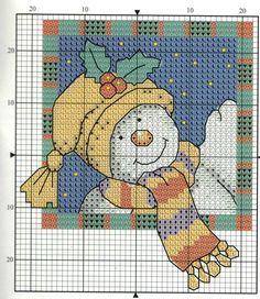 Snowman Cross Stitch Pattern, Tiny Cross Stitch, Cross Stitch Charts, Cross Stitch Designs, Cross Stitch Patterns, Cross Stitch Christmas Cards, Xmas Cross Stitch, Christmas Cross, Cross Stitching