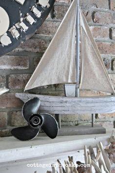 Rustic nautical summer mantel.