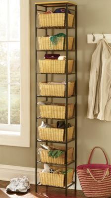 "Tall Basket Tower $99.95 	Read Review (0) |  	 Write a review     Tall Basket Tower stacks storage high—in minimum floor space. The eight woven wicker baskets (11 1/2"" w x 5 1/4"" h x 9 3/4"" d) that rest on metal shelves are perfect for crafts, bathroom toiletries, or entryway clutter. 6-ft. metal tower is topped with a wooden shelf. Each basket has a 5-lb. weight capacity. Assembly required. 13"" w x 72 1/2"" h x 9 3/4"" d. Tall Basket Tower	#UT63401	$99.95 Size/wt.: B light brown wicker…"