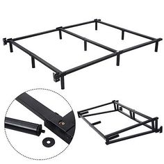 Black Folding Heavy Duty Metal Bed Frame Center Support Bedroom Queen Size