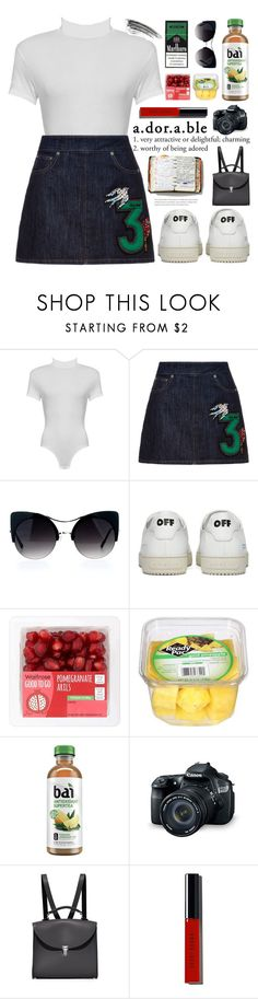 """""""backpack"""" by anabelisstyle ❤ liked on Polyvore featuring WearAll, Miu Miu, Off-White, Eos, The Cambridge Satchel Company, Bobbi Brown Cosmetics and Peek"""
