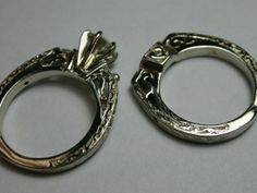 Hand carved custom engagement and wedding ring set from Baxley Jewelers in Carrollton GA