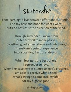 I #Surrender, a Positive #Affirmation