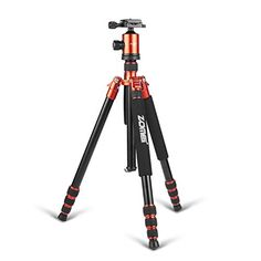 Zomei 65 Professional Compact Magnesium Aluminium Sturdy Camera Tripod Monopod with Quick Release Plate Tripod Mount Ball Head and Bubble Level for Canon Nikon DSLR and Camcorders Orange * You can get additional details at the image link.