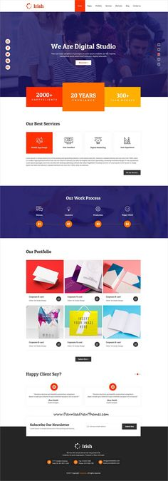 Irish is clean and modern design multipurpose #PSDtemplate for creative #agency website with 18 niche homepage #layouts and 30 layered PSD files to live preview & download click on image or Visit