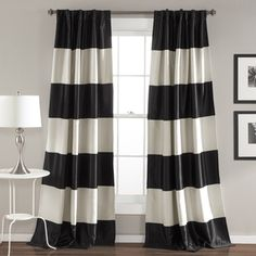 Enhance your home decor with these stylish curtains by Nautica. Available in multiple colors, these curtains feature a nautical inspired horizontal stripe pattern and brushed nickel grommets. Construc