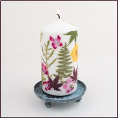Kerze gepresste Blumen