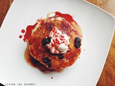Living the Gourmet: Pancakes with Blueberry Ginger Sauce