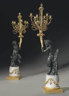 A PAIR OF FRENCH ORMOLU, PATINATED-BRONZE AND GREY MARBLE SIX-LIGHT FIGURAL CANDELABRA<br />AFTER THE MODELS BY CLODION, THIRD QUARTER 19TH CENTURY <br />Each with a fruiting and floral cast finials and acanthus cast scrolled branches, supported by a male and female satyr on gray marble columnar bases with swagged grape leaf and bound laurel leaf mounts, stamped overall with letters and numerals, accession numbers <i>1944.124.1</i> and <i>1944.124.2</i><br />63½ in. (161.5 cm.) high  (2)<br…