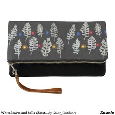 White leaves and balls Christmas fold over clutch