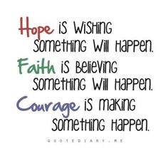 HOPE is wishing something will happen; FAITH is believing something will happen; COURAGE is making something happen