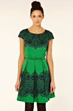 Green Fitted Bodice Dress with Full Skirt Belt Navy Lace Print Detail | eBay