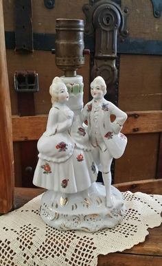 Antique Victorian Lamp Porcelain George & by DarlenesCountryGoods