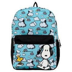 """Peanuts Snoopy Clouds Backpack - Baby Blue (16"""")"""