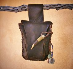 THE WOODS deerskin leather Belt Pouch, medicine bag, cell phone cover, stash talisman shaman herb