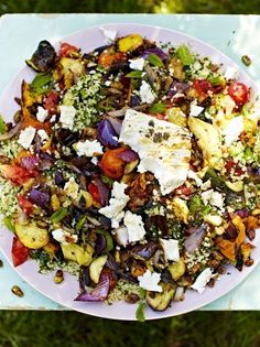 Griddled vegetables & feta with tabbouleh Jamie Oliver (made this with Quinoa and it was awesome! Veggie Recipes, Salad Recipes, Vegetarian Recipes, Cooking Recipes, Healthy Recipes, Veggie Bbq, Grilling Recipes, Chicken Recipes, Vegetarian Grilling