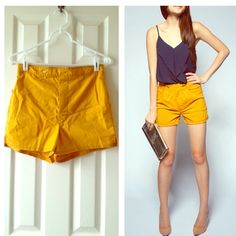 Vintage mustard colored shorts Size small.  Vintage yelliw shorts. Vintage Shorts