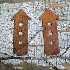 Rusty tin tall birdhouse pair by RustySparrowSupplies on Etsy, $2.50