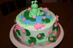 frog themed baby shower | Frog and Lily Pads Baby Shower Cake — Baby Shower