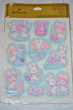 Vintage Hallmark Stickers -  White Easter Bunnies and Chicks - A Sealed Package of 40. $8.50, via Etsy.
