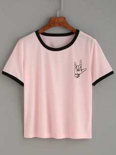 Pink Contrast Trim Love Gesture Print T-shirt Mobile Site