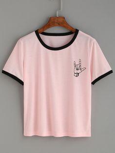Camiseta estampado gesto amor ribete en contraste - rosa