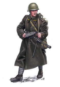 soldado soviético con ametralladora Degtyarev