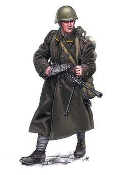 Soviet soldier with Degtyaryov machine gun, pin by Paolo Marzioli Military Photos, Military Art, Military History, Ww2 Uniforms, Military Uniforms, Zar Nikolaus Ii, Army Uniform, Red Army, Panzer