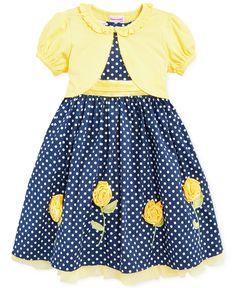 Nannette Little Girls' Dot Dress & Shrug Set - Kids Girls Dresses - Macy's Kids Dress Wear, Little Girl Outfits, Toddler Girl Outfits, Little Dresses, Little Girl Dresses, Toddler Dress, Toddler Fashion, Kids Outfits, Girls Dresses
