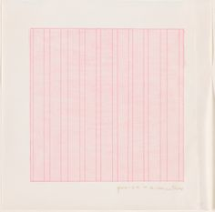 """Agnes Martin, """"Praise,"""" 1976, rubber stamp in pink on Dalton Natural Bond paper from a portfolio of 13 rubber stamp prints, each stored in a separate envelope, National Gallery of Art, Washington, Gift of Bob Stana and Tom Judy"""