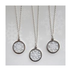 """Etsy - Snowflake Necklace - Paper Cut Jewelry - Handcut Paper in Glass with 24"""" silver chain"""