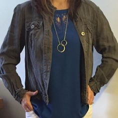 Grey INC Jacket - lightweight Cute grey INC international Concepts jacket. The material has a tousled look with super cute detailing. Very lightweight.  Worn once.  INC International Concepts Jackets & Coats Blazers
