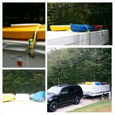 Easy inexpensive way to transport your kayaks on the top of your pop up camper. Pool noodles and bungee cords for support with tie downs. We put one kayak on each side of our air conditioner. It was the perfect solution for us. Happy camping, Amy