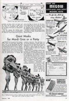 Giant Masks for Mardi Gras or a Party (Feb, 1938)
