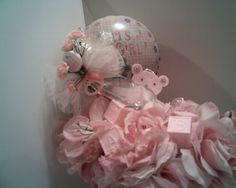 Gift Set for Welcoming Baby Girl - Flower Vase and Balloon Set - Includes Gift Card Holder, Bear and Bow