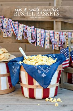 The patriotic party season starts this Memorial Day and goes through the of July! These DIY Red and White Painted Bushel Baskets are perfect for serving appetizers at these celebrations. Fourth Of July Decor, 4th Of July Celebration, 4th Of July Decorations, 4th Of July Party, 4th Of July Ideas, Parties Decorations, 4th Of July Games, Party Decoration, Birthday Decorations